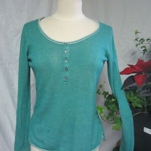 Tommy Bahama Cotton Green Long Sleeve Henley Small